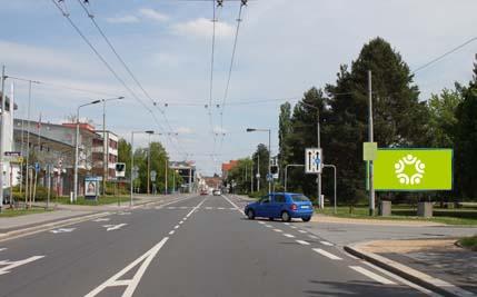 Pardubice - ulice Teplého, u hasičů, směr centrum